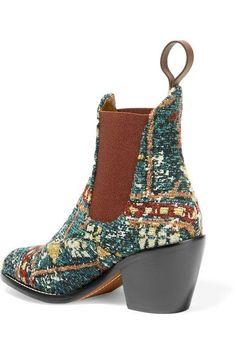 Chloé - Bouclé-jacquard Ankle Boots - Blue - IT41.5
