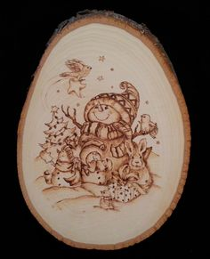 pyrography on basswood slice by Debbie Griggs