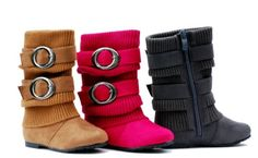 No60-1 Girls Buckle Slouch Mid Tall Boots