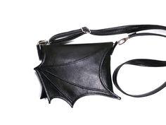 90d356580 Black bat wing bag, small crossbody bag, black purse, vegan bag, goth