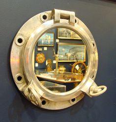 Small  Vintage Aluminum Porthole Mirror- Nautical/Coastal Decor