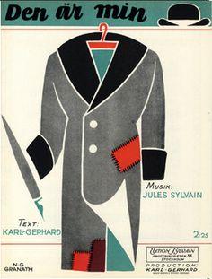 Illustrated Sheet Music by N. G. Granath, 1929, 'Den Är Min'.