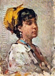 Girl With Yellow Headscarf Painting by Nicolae Grigorescu Reproduction Fauvism Art, Famous Historical Figures, D Avila, Human Pictures, Most Famous Paintings, Post Impressionism, Art Database, Oil Painting Reproductions, Artist At Work