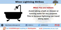 taking bath during lightning or thunderstorm; as lightning's current can travel through pipes and cause you an injury. Lightning Safety, Lightning Strikes, Bath Or Shower, Thunderstorms, Pipes, Management, Advice, Author, Canning