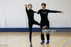 SHANGHAI, CHINA - MARCH 26: Qing Pang and Jian Tong of China warm up before the compete Pairs-Free Skating on day two of the 2015 ISU World Figure Skating Championships at Shanghai Oriental Sports Center on March 26, 2015 in Shanghai, China. (Photo by Lintao Zhang - ISU/ISU via Getty Images)