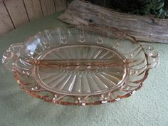 Pink Depression Glass Relish Tray Anchor Hocking by LazyYVintage