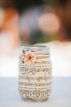 Sheet music covered DIY mason jar