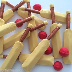 6 cricket bats balls edible sugar paste sport #cupcake #decorations #toppers, View more on the LINK: http://www.zeppy.io/product/gb/2/252396559457/