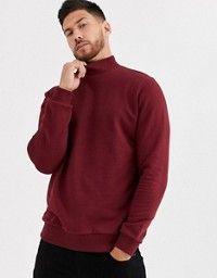 ASOS DESIGN muscle sweatshirt with turtle neck in burgundy   ASOS Asos, Red Turtleneck, Joker, Mens Sweatshirts, Latest Trends, Burgundy, Men Sweater, Turtle Neck, Sweaters