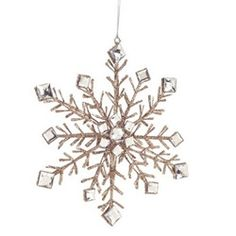 "10"" Luxury Lodge Champagne Glittered Snowflake Christmas Ornament"