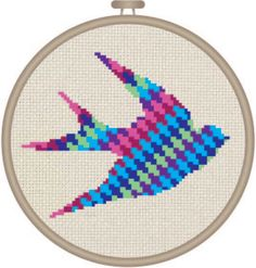 Colorful Geometric Swallow Bird Cross Stitch Pattern by DJStitches on Etsy