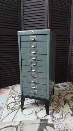 1970s Industrial Ten-Drawer Metal Filing Cabinet
