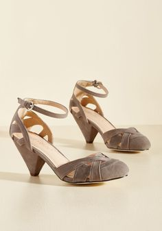 Currant Scones Heel in Stone | Mod Retro Vintage Heels | ModCloth.com  A weekend pastry party is an excellent reason to invite your pals for sweet treats, and to have these stone grey heels as the guest of honor! As you greet the group at your door in the tapered heels and plentiful cutouts of these faux-suede kicks, each friend indulges in their confectionary look.