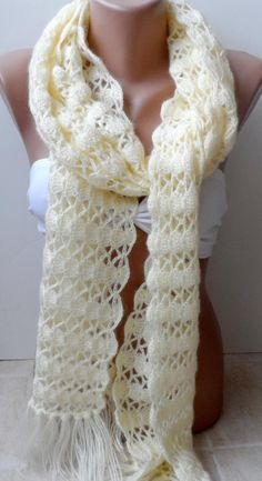 Cream Crochet scarf Crocheted scarf Handmade scarf Christmas Valentines day gifts Long cowl scarf Eternity Gifts for Mothers Grandmothers Crochet Scarves, Crochet Shawl, Crochet Clothes, Knit Crochet, Crocheted Scarf, Hand Knit Scarf, Lace Scarf, Cowl Scarf, Christmas Scarf