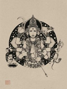 Based in Tokyo, Jeremy Hannigan is a Canadian illustrator creating detailed ink drawings related to fashion, music, and art for a variety of clients and purposes. Kali Tattoo, Kali Goddess, Goddess Art, Saraswati Goddess, Indian Gods, Indian Art, Tattoo Deus, Kali Ma, God Tattoos