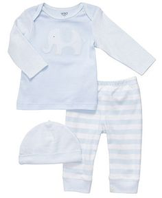 Carter's Baby Set, Baby Boys Elephant 3-Piece Striped Set - Kids Newborn Shop - Macy's