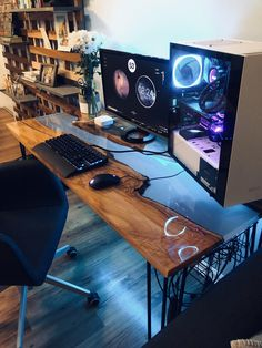 My new river table desk build – {gaming/ desk setup} – Custom Gaming Computer, Gaming Desk Setup, Diy Computer Desk, Pc Setup, Gaming Desktop, Pc Gamer, Gamer Room, Nerd Room, Table Pc