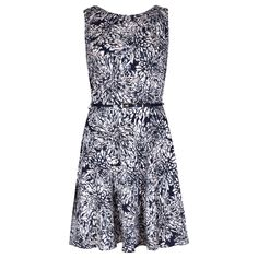 Navy & White Carnation Print Structured Dress