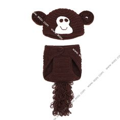 Baby Unisex Velvet Crochet Beanie Photography Brown Monkey Hat Set