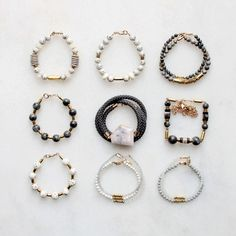 Bracelet samples with jasper, pink opal, moonstone and wood