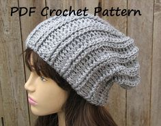 Pattern No Skill Level Easy A basic knowledge of crochet is necessary Stitches used Dc- double crochet Hdc-half double crochet Bpdc-back post double crhochet Slst- slip stitch Ch- chain Finished Crochet Slouchy Hat, Knitted Hats, Knit Crochet, Slouch Hats, Slouchy Beanie, Easy Crochet Hat Patterns, Knitting Patterns, Crochet Hat For Beginners, Beginner Crochet