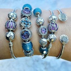 Moody winter light on this pink and blue stack. I am starting to really embrace the button-style beads.  #pandorabracelets #pandorabeads #silverbracelets #myarmparty #pandoraaddict #essence #new #patternsoffrost #winter #blush #crystals #signature #pandorasignature #bangle #theofficialpandora #officialpandora #uniqueasyouare #pandorastyle