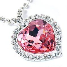 Fancy+LARGE+Pink+Austrian+Crystal+Heart+of+the+Ocean+Pendant+Necklace+Elegant+Trendy+Fashion+Jewelry