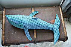 Aqua blue shweshwe cotton plush whale by HuggyWhale on Etsy Sewing Ideas, Sewing Patterns, Doll Maker, Plushies, Aqua Blue, South Africa, Printing On Fabric, Whale, Amanda