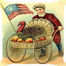 "Retro vintage Victorian boy Thanksgiving turkey cart USA flag Cushion Cover 18"""