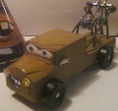 Mater the pinewood derby car.He looks worse than he does in the movie.