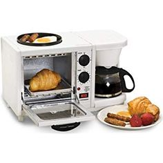 This bright, compact mini breakfast maker is the perfect addition to any dorm room, RV or small kitchen. Complete with a drip coffee maker, oven top griddle and toaster oven, you will be making Coffee Shops, Small Appliances, Kitchen Appliances, Cooking Appliances, 4 Cup Coffee Maker, Breakfast Station, Cafetiere, Camping Coffee, Four