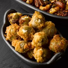 Deep-fried stuffed green olives I Ottolenghi recipes I When else could you even remotely justify stuffing olives, then coating them in breadcrumbs and frying? Probably the worst ratio of work per bite in the food world.