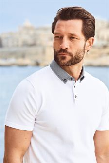 Buy White Woven Collar Polo from the Next UK online shop Latest Fashion For Women, Mens Fashion, Polo Shirt, T Shirt, Next Uk, Uk Online, Mens Tops, Stuff To Buy, Shopping