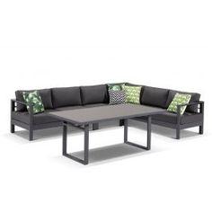 Amalfi 6pc Aluminium Outdoor Modular Lounge Dining Setting in Gunmetal/Sunbrella Canvas Coal