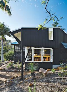 fiber-cementboard facade with Resene cool colour Blackjack