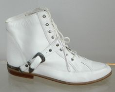 vintage 80s granny boots size 9 Wild Pair white leather granny buckle boots. $55.00, via Etsy.