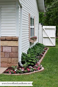 Side Yard Makeover: Creating Curb Appeal/ Love Hostas and impatiens on the shady north side.