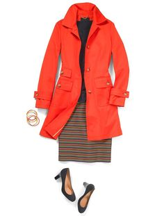 Great color raincoat but I'd want a hood and need to make sure it's lightweight.Talbots.