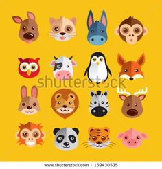 Find Funny Animal Heads Vector Illustration stock images in HD and millions of other royalty-free stock photos, illustrations and vectors in the Shutterstock collection. Funny Animals, Cute Animals, Funny Quotes For Instagram, Funny Cat Memes, En Stock, Animal Heads, Funny Babies, Animal Drawings, Funny Cute