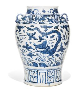 A LARGE BLUE AND WHITE 'DRAGON' JAR<br>MING DYNASTY, 16TH CENTURY | Lot | Sotheby's