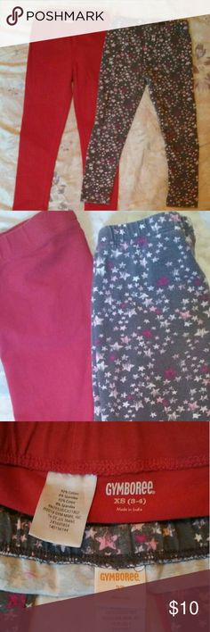"Gymboree girls leggings size 3T & 3/4 years Pair of Gymboree leggings size 3T and 3/4. Sizing details on pictures. Good condition no holes, rips. Not worn out elastic is great. Rarely worn. The red leggings are ""classic"" and the star legging are ""casual"" that's why red is longer. Gymboree Bottoms Leggings"