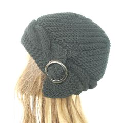 Hand Knit Hat Cloche Hat in Black with black buckle by Ebruk, $35.00