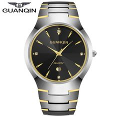 44.50$  Buy here - http://aliwbl.worldwells.pw/go.php?t=32669427645 - 2016 Luxury Brand GUANQIN Men's Watch Tungsten Steel Quartz Watches Fashion Silver Rose Gold Watches With Calendar for Man 44.50$