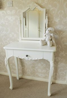 White dressing table & mirror bedroom furniture shabby vintage chic.