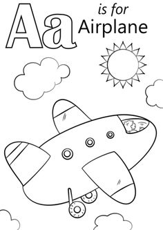 Letter A is for Airplane coloring page from Letter A category. Select from 25651 printable crafts of cartoons, nature, animals, Bible and many more.