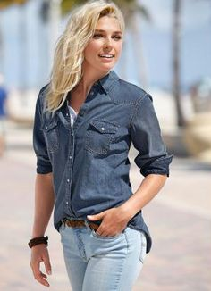 16b6f37bd3 Camisa Jeans Manga Longa Azul Escuro - bonprix