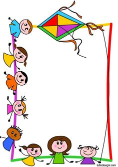 cornicette-bambini: Drawing For Kids, Art For Kids, Crafts For Kids, Borders For Paper, Borders And Frames, Kindergarten Photos, School Border, School Frame, Letters For Kids