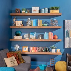 You can buy floating shelves in stores or online for $20 to $80 each. But before you do that, consider building your own. For about the same cost, you can get the exact size, thickness and look you want. You can even finish them to match your trim or furniture. And your homemade shelves will be sturdier than most store-bought shelves – ours can support about 50 lbs. each. Plus, you'll earn serious bragging rights when you're done.