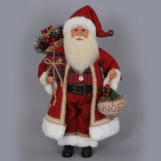 Karen Didion Originals Woodland Noel Santa Figurine Home - Bloomingdale's Luxury Christmas Tree, Old World Christmas Ornaments, Christmas Greenery, Father Christmas, Santa Christmas, Vintage Christmas, Christmas Ideas, Christmas Cards, Santa Figurines