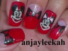 Mickey and Minnie Mouse Nail Tutorial
